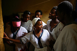 Tigist Chekol, 18, gets ready to perform a traditional dance during a show by the Fistula Girls Club and the Community-based Reproductive Association in Shende Village, Amhara Region, Ethiopia on May 16,  2007. This is one of many events hosted by the groups to discourage early marriage and other harmful traditional practices in the Bure district.