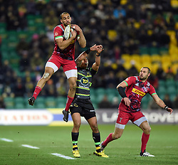 Aaron Morris of Harlequins claims the ball in the air - Mandatory byline: Patrick Khachfe/JMP - 07966 386802 - 02/02/2018 - RUGBY UNION - Franklin's Gardens - Northampton, England - Northampton Saints v Harlequins - Anglo-Welsh Cup