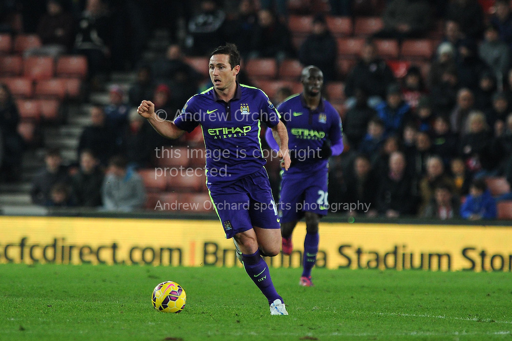 Frank Lampard of Manchester city in action. Barclays Premier League match, Stoke city v Manchester city at the Britannia Stadium in Stoke on Trent , Staffs on Wed 11th Feb 2015.<br /> pic by Andrew Orchard, Andrew Orchard sports photography.