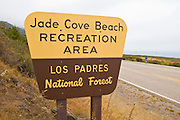 Jade Cove Recreation Area sign on Highway 1, Los Padres National Forest, Big Sur, California