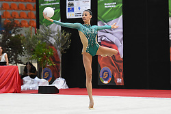July 28, 2018 - Chieti, Abruzzo, Italy - Rhythmic gymnast Alessia Russo of Italy performs her ball routine during the Rhythmic Gymnastics pre World Championship Italy-Ukraine-Germany at Palatricalle on 29th of July 2018 in Chieti Italy. (Credit Image: © Franco Romano/NurPhoto via ZUMA Press)