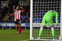 Football - 2019 / 2020 Emirates FA Cup - Fifth Round: Reading vs. Sheffield United<br /> <br /> Sheffield United's David McGoldrick celebrates scoring the opening goal, at the Madejski Stadium.<br /> <br /> COLORSPORT/ASHLEY WESTERN