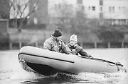 London, United Kingdom.  Oxford University Boat Club, Training Camp at St Paul's School, Hammersmith 2-12 Jan. 1990, Photography days 3 and 6th Jan. The squad training on the River Thames,[Tideway] Between the Pink House, Isleworth and Putney Hard,<br /> Right ; OUBC.  Head Coach, Pat SWEENEY and left: Director of Rowing OUBC. Steve ROYAL. [Mandatory Credit. Peter SPURRIER Intersport Images}.<br /> <br /> Blue Boat. W, M Gaffney J J Heathcote D G Miller R J Obholzer M C Pinsent J W C Searle T G Slocock M W Watts. 1991, W, P A J Bridge N Chugani H P M ..