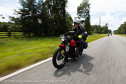 Joe Gimpel riding his 640cc 1940 Indian in the Cross Country Chase motorcycle endurance run from Sault Sainte Marie, MI to Key West, FL. (for vintage bikes from 1930-1948). 287 mile ride of Stage-8 from Tallahassee to Lakeland, FL USA. Friday, September 13, 2019. Photography ©2019 Michael Lichter.