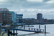 Hammersmith. London. United Kingdom,  Crew boating from the Fulham Reach Rowing Club pontoon, 2018 Men's Head of the River Race.  Championship Course, Putney to Mortlake. River Thames, <br /> <br /> Sunday   11/03/2018<br /> <br /> [Mandatory Credit:Peter SPURRIER Intersport Images]<br /> <br /> Leica Camera AG  M9 Digital Camera  1/500 sec. 50 mm f. 160 ISO.  17.5MB
