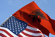 """Kosovo, Pristina (Boulevard of Martyrs"""" Square)<br /> Saturday, February 16, 2008<br /> <br /> On boulevard of War Martyrs in Pristina, are waveing Albanian National flag, and American National flag, many Albanians who use to walk around Pristina, as they says they feel more secured and more Honoured from America, till they use to look American Flag is waveing together with Albanian National Flag"""