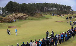 Lee Westwood plays his second shot to the 11th green during day two of the Betfred British Masters at Hillside Golf Club, Southport.