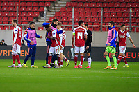 PIRAEUS, GREECE - FEBRUARY 25: Players of Arsenal FC celebrate after the UEFA Europa League Round of 32 match between Arsenal FC and SL Benfica at Karaiskakis Stadium on February 25, 2021 in Piraeus, Greece.(Photo by MB Media)