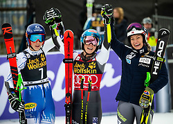 Fist placed VLHOVA Petra of Slovakia and SHIFFRIN Mikaela of United States with third placed MOWINCKEL Ragnhild of Norway celebrate after the 6th Ladies'  GiantSlalom at 55th Golden Fox - Maribor of Audi FIS Ski World Cup 2018/19, on February 1, 2019 in Pohorje, Maribor, Slovenia. Photo by Vid Ponikvar / Sportida