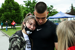 Igor Vekic of Bravo with his girlfriend after the football match between NK Domzale and NK Aluminij in 36th Round of Prva liga Telekom Slovenije 2020/21, on May 22, 2021 in Sportni park Domzale, Slovenia. Photo by Vid Ponikvar / Sportida