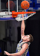 St Louis Billikens guard Gibson Jimerson (24) goes in for a layup. St. Louis University hosted the University of Arkansas - Pine Bluff in a mens basketball game on December 5, 2020 at Chaifetz Arena on the SLU campus in St. Louis, MO.<br /> Photo by Tim Vizer