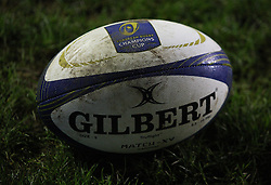 General view of the match ball before the match - Mandatory byline: Jack Phillips / JMP - 07966386802 - 13/11/15 - RUGBY - Welford Road, Leicester, Leicestershire - Leicester Tigers v Stade Francais - European Rugby Champions Cup Pool 4