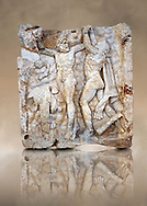 Photo of Roman relief sculpture, Aphrodisias, Turkey, Images of Roman art bas reliefs.  Prometheus is screaming in pain. Zeus had given him a terrible punishment for giving fire to man: he was tied to the Caucasus mountains and had his liver picked out daily by an eagle. Herakles shot the eagle and is undoing the first manacle. He wears his trade mark lion-skin and thrown his club to one side. A small mountain nymph, holding a throwing stick appears amongst the rocks. .<br /> <br /> If you prefer to buy from our ALAMY STOCK LIBRARY page at https://www.alamy.com/portfolio/paul-williams-funkystock/greco-roman-sculptures.html . Type -    Aphrodisias     - into LOWER SEARCH WITHIN GALLERY box - Refine search by adding a subject, place, background colour, museum etc.<br /> <br /> Visit our ROMAN WORLD PHOTO COLLECTIONS for more photos to download or buy as wall art prints https://funkystock.photoshelter.com/gallery-collection/The-Romans-Art-Artefacts-Antiquities-Historic-Sites-Pictures-Images/C0000r2uLJJo9_s0