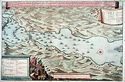 Battle of Vigo Bay, Spain, 12 October 1702. Spanish treasure fleet defeated by combined English and Dutch fleets. War of the Spanish Succession 1701-1714.  Dutch plan of the engagement.