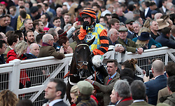 Nico de Boinville on Might Bite make their way in after coming second in the Timico Cheltenham Gold Cup Chase during Gold Cup Day of the 2018 Cheltenham Festival at Cheltenham Racecourse.