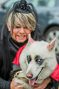 Mischa, a husky, with Ika -  charity Halloween Dog Walk and Fancy Dress Show organised by All Dogs Matter at the Spaniards Inn, Hampstead. London 29 Oct 2017.