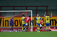 Football - 2020 / 2021 Emirates FA Cup - Round Two: Morecambe vs. Solihull Moors<br /> <br /> John O'Sullivan of Morecambe turns away after scores his side's third goal with a header to make the score 3-2 in extra time, at the Mazuma Stadium.<br /> <br /> COLORSPORT/ALAN MARTIN