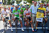 Sykkel<br /> 30,06.2013<br /> Tour de France<br /> Foto: PhotoNews/Digitalsport<br /> NORWAY ONLY<br /> <br /> AJACCIO, FRANCE - JUNE 30: Marcel Kittel (Germany / Team Argos - Shimano - Uvex), Juan Jose Lobato Del Valle (Spain / Team Euskaltel - Euskadi), Alexander Kristoff (Norway / Team Katusha - Katuscha - Canyon) and Boy Van Poppel (Holland / Team Vacansoleil - DCM) at the start of the second stage of the 2013 Tour de France from Bastia to Ajaccio on June 30, 2013 in Ajaccio, Corsica - France.