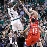 21 May 2012: Boston Celtics power forward Kevin Garnett (5) takes a jumpshot over Philadelphia Sixers center Spencer Hawes (00) during the Boston Celtics 101-85 victory over the Philadelphia Sixer, in Game 5 of the Eastern Conference semifinals playoff series, at the TD Banknorth Garden, Boston, Massachusetts, USA.