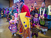 06 MAY 2017 - ST. PAUL, MN: Dancers line up for the Grand Entry at the 6th Annual Powwow for Hope at Ft. Snelling in St. Paul. The powwow was a fundraiser to support cancer education and supportive services for American Indian communities. Proceeds benefited the American Indian Cancer Foundation's work to eliminate cancer burdens on American Indian families. Cancer is the leading cause of death in Native American communities, exceeding coronary disease and diabetes.       PHOTO BY JACK KURTZ