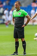 Today's referee David Webb during the pre-match warm-up at the EFL Sky Bet Championship match between Cardiff City and Bristol City at the Cardiff City Stadium, Cardiff, Wales on 28 August 2021.