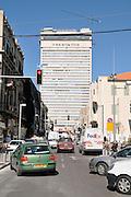 Israel, Tel Aviv, Herzl street and the Shalom Tower