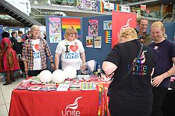 Unite stall at Pride 2017, Norwich UK, 29 July 2017