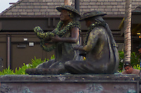 """Kona International Airport Waiting Area. Bronze of """"The Lei Makers"""" Image taken with a Nikon D300 and 28-70 mm f/2.8 lens (ISO 560, 45 mm, f/2.8, 1/60 sec). Image cropped with NIK Define 2 noise reduction."""