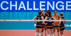 04-08-2019 ITA: FIVB Tokyo Volleyball Qualification 2019 / Netherlands, - Italy Catania<br /> last match pool F in hall Pala Catania between Netherlands - Italy for the Olympic ticket. Italy win 3-0 and take the ticket to the Olympics / Challenge Laura Dijkema #14 of Netherlands, Anne Buijs #11 of Netherlands, Myrthe Schoot #9 of Netherlands