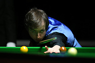 Scott Donaldson of Scotland during his 1st round match against Fergal O'Brien of Ireland. ManBetx Welsh Open Snooker 2018, day 1 at the Motorpoint Arena in Cardiff, South Wales on Monday 26th February 2018.<br /> pic by Andrew Orchard, Andrew Orchard sports photography.