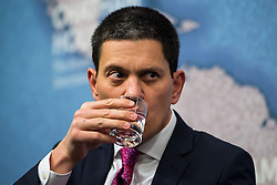 © Licensed to London News Pictures. 03/02/2016. London, UK. President and CEO, International Rescue Committee DAVID MILIBAND speaking at Chatham House in London about the current refugee crisis, five years on from the beginning of the Syria conflict.  Photo credit: Ben Cawthra/LNP