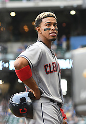 May 8, 2018 - Milwaukee, WI, U.S. - MILWAUKEE, WI - MAY 08: Cleveland Indians Shortstop Francisco Lindor (12) looks on during a MLB game between the Milwaukee Brewers and Cleveland Indians on May 8, 2018 at Miller Park in Milwaukee, WI. The Brewers defeated the Indians 3-2.(Photo by Nick Wosika/Icon Sportswire) (Credit Image: © Nick Wosika/Icon SMI via ZUMA Press)