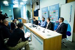 Uros Mohoric, Veselin Vujovic, head coach of Slovenian National Handball Men Team, Anze Blazic and Tomaz Jontes  during press conference of Slovenian Handball Federation RZS, on April 19, 2017 in Telekom Slovenije, Ljubljana, Slovenia. Photo by Vid Ponikvar / Sportida