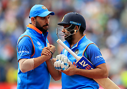 India's Rohit Sharma (right) celebrates with team-mate Yuvraj Singh during the ICC Champions Trophy, semi-final match at Edgbaston, Birmingham. PRESS ASSOCIATION Photo. Picture date: Thursday June 15, 2017. See PA story CRICKET Bangladesh. Photo credit should read: Mike Egerton/PA Wire. RESTRICTIONS: Editorial use only. No commercial use without prior written consent of the ECB. Still image use only. No moving images to emulate broadcast. No removing or obscuring of sponsor logos.