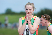 Grace Lawler from Carlow after winning the Girls U 14 100m  at the HSE Community Games National Finals 2010 in the AIT in Athlone. Photo:Andrew Downes