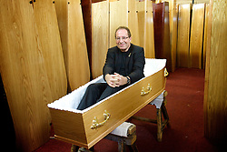 Peter James<br /> Author of Dead Simple and The Perfect Murder <br /> at a Coffin Factory in the east end of London, Great Britain <br /> press photocall <br /> 30th June 2014 <br /> <br /> Peter James is an award winning crime writer  who has sold over 14 million books.