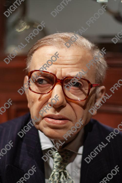 Portrait of  Jean-Paul Sartre wax figure in display museum Grevin in Paris, France