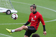 Gareth Bale of Wales in action at the Wales football team training at the Vale Resort in Hensol, near Cardiff , South Wales on Tuesday 29th August 2017.  the team are preparing for their FIFA World Cup qualifier home to Austria this weekend.  pic by Andrew Orchard, Andrew Orchard sports photography