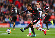 Mersut Ozil of Arsenal (l)  in action. Premier league match, Stoke City v Arsenal at the Bet365 Stadium in Stoke on Trent, Staffs on Saturday 19th August 2017.<br /> pic by Bradley Collyer, Andrew Orchard sports photography.