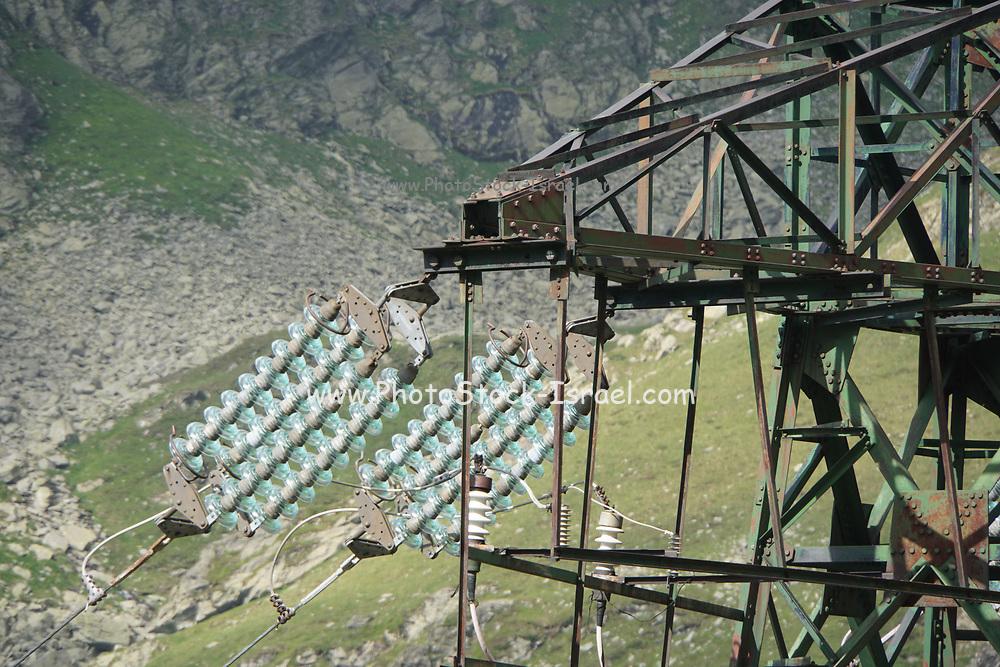 Cable car over Fagaras mountains road, Romania