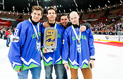 Ales Kranjc, Luka Vidmar and Andrej Hebar of Slovenia celebrate after the ice hockey match between National Teams of Austria and Slovenia in 5th Round of 2016 IIHF Ice Hockey World Championship Division 1 - Group A, on April 29, 2016 in Spodek Arena, Katowice, Poland. Photo by Marek Piuyzs / Sportida