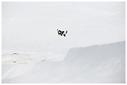 GB Park & Pipe freestyle Snowboarder Rowan Coultas at The Stomping Ground snowpark in Corvatsch, Switzerland