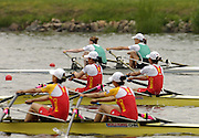 Poznan, POLAND.  2006, FISA, Rowing World Cup CHN LW2X crew 2 and 3 lead home  IRL LW2X  left, Niamh NI CHEILLEACHAIR and Sinead JENNINGS,  in the final on the 'Malta Regatta course;  Poznan POLAND, Sat. 17.06.2006. © Peter Spurrier   ....[Mandatory Credit Peter Spurrier/ Intersport Images] Rowing Course:Malta Rowing Course, Poznan, POLAND