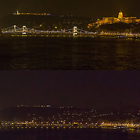 Combination photo of the Chain Bridge and the Royal Castle taken before (above) and after (below) the lights went off during the Earth Hour in Budapest, Hungary on March 23, 2013. ATTILA VOLGYI