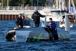 Kiel - Germany, 28th of August 2009. iShares cup. First day of racing...The first racing day consisting of 8 races. Picture shows Ecover just after they capsized between race 3 and 4.