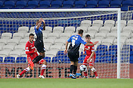 Dan Gosling of Bournemouth scores his side's third goal. Capital One Cup, 3rd round match, Cardiff City v AFC Bournemouth at the Cardiff City stadium in Cardiff, South Wales on Tuesday 23rd Sept 2014<br /> pic by Mark Hawkins, Andrew Orchard sports photography.