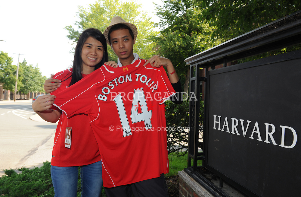 HARVARD, USA - Monday, July 21, 2014: Liverpool supporters Jack Songwasin and Ing Jongray from Thailand during a preseason training session at the Harvard Stadium in Boston on day one of their USA Tour. (Pic by David Rawcliffe/Propaganda)