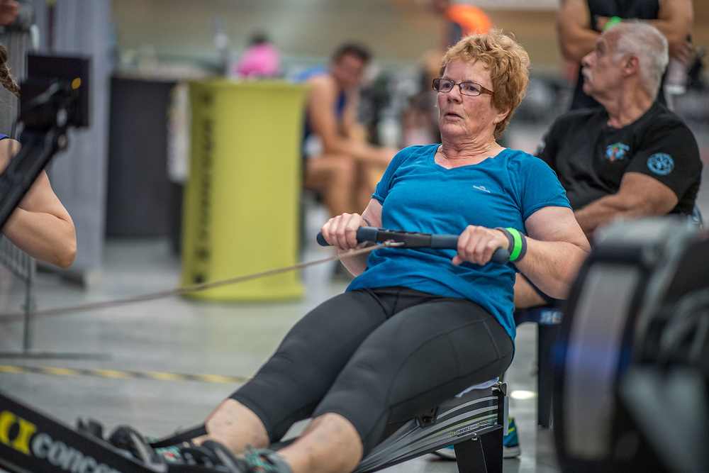 Shirley Godkin FEMALE HEAVYWEIGHT Masters H 2K Race #3  09:00am<br /> <br /> www.rowingcelebration.com Competing on Concept 2 ergometers at the 2018 NZ Indoor Rowing Championships. Avanti Drome, Cambridge,  Saturday 24 November 2018 © Copyright photo Steve McArthur / @RowingCelebration