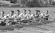 Kingston on Thames, United Kingdom.  N0.6 Richard PHELPS N0. 5, Colin GREENAWAY, and No. 4, Chris ANDREWS. Bow. Maurice HAYES.  M8+. Kingston Rowing Club,  The final Round of the Leyland Daf Sprint series, at Kingston RC on the River Thames, Surrey, England, <br /> <br /> Saturday 04.05.1987<br /> <br /> [Mandatory Credit; Peter Spurrier/Intersport-images] 1987 Leyland Daf Sprints, Kingston. UK