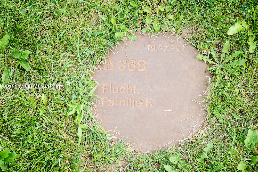 Plaque marks escape of Family K in location of former death strip of Berlin Wall on Bernauer Strasse  in Berlin Germany